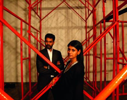 Nandita Das and her husband Subodh Maskara in a scene from the play Between The Lines