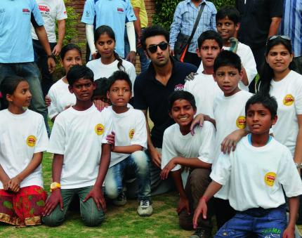 Ranbir Kapoor with kids from the Magic Bus Charity Foundation