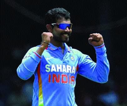 Ravindra Jadeja celebrates the dismissal of Sri Lankan Rangana Herath in the final—AFP